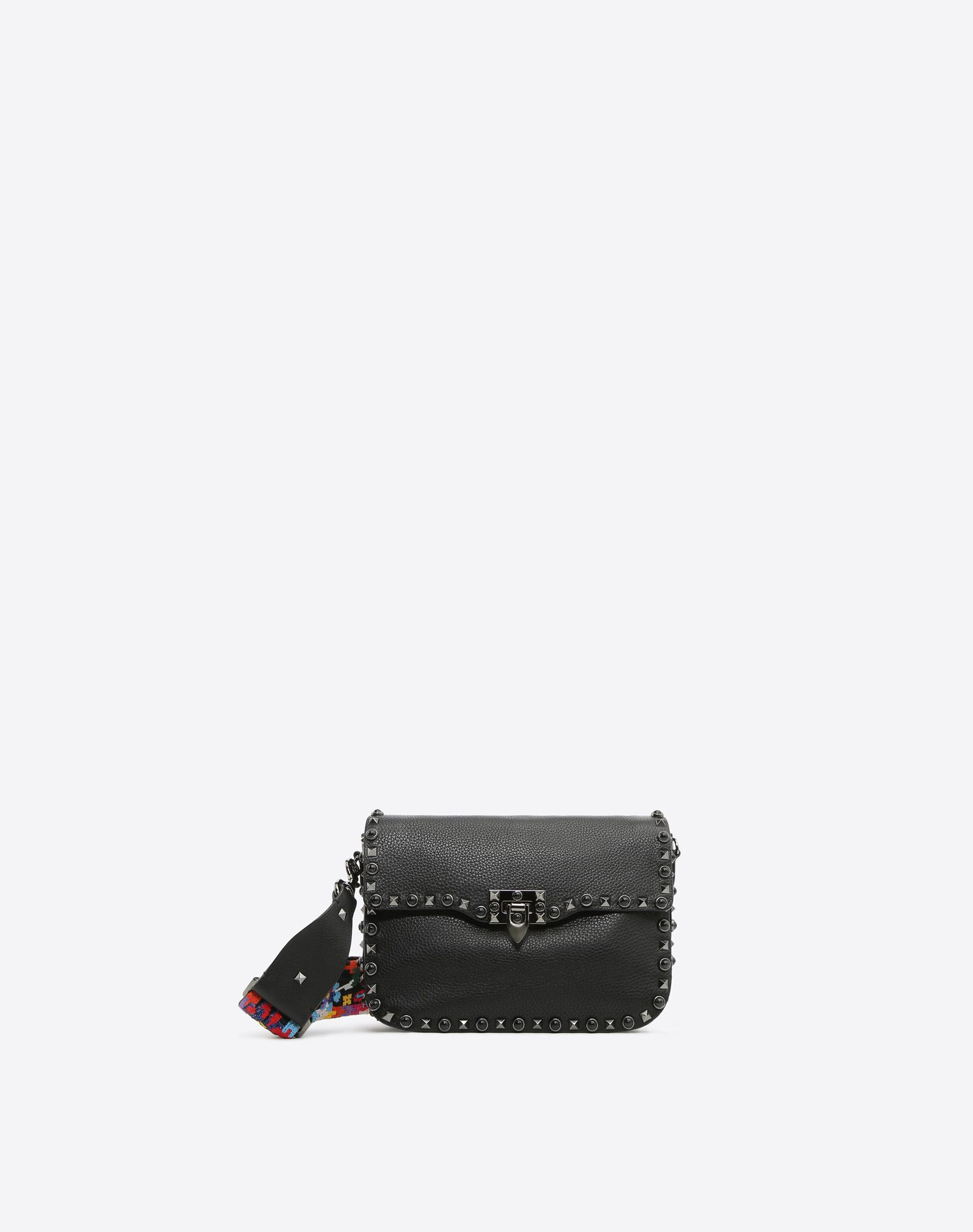 VALENTINO Studded Textured leather Logo Solid colour Framed closure Internal zip pocket Removable shoulder strap  45390702an