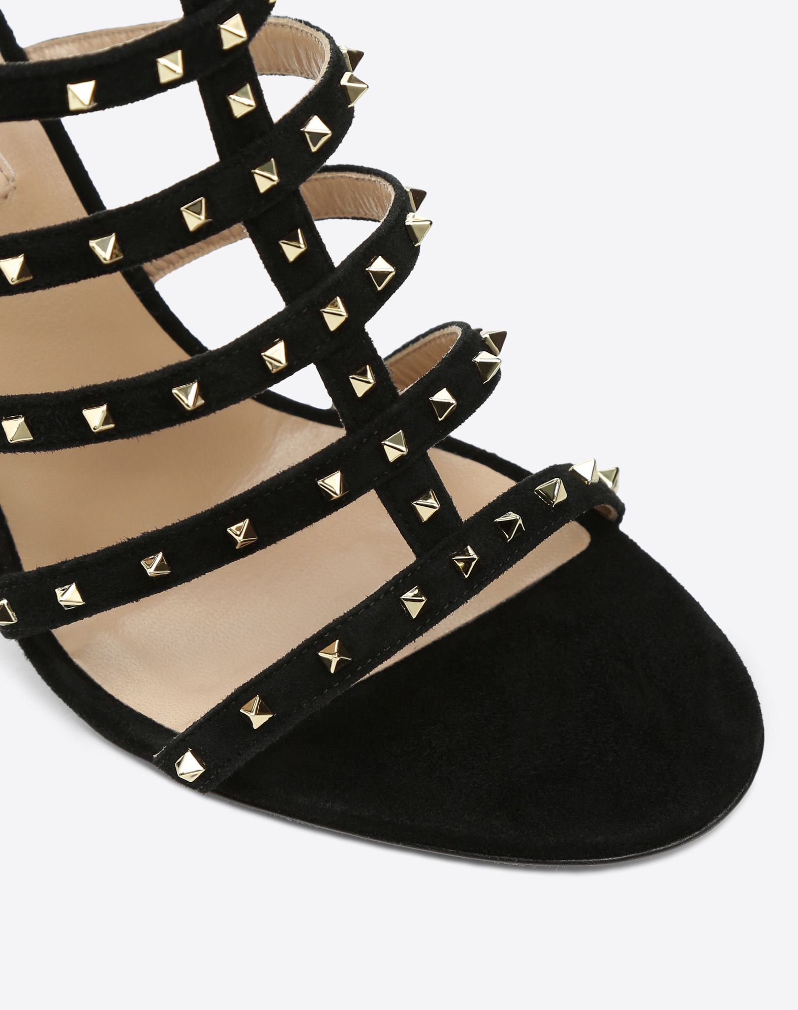 VALENTINO Studs Round toeline Solid color Leather sole Zip Covered heel Stiletto heel  45390748kl