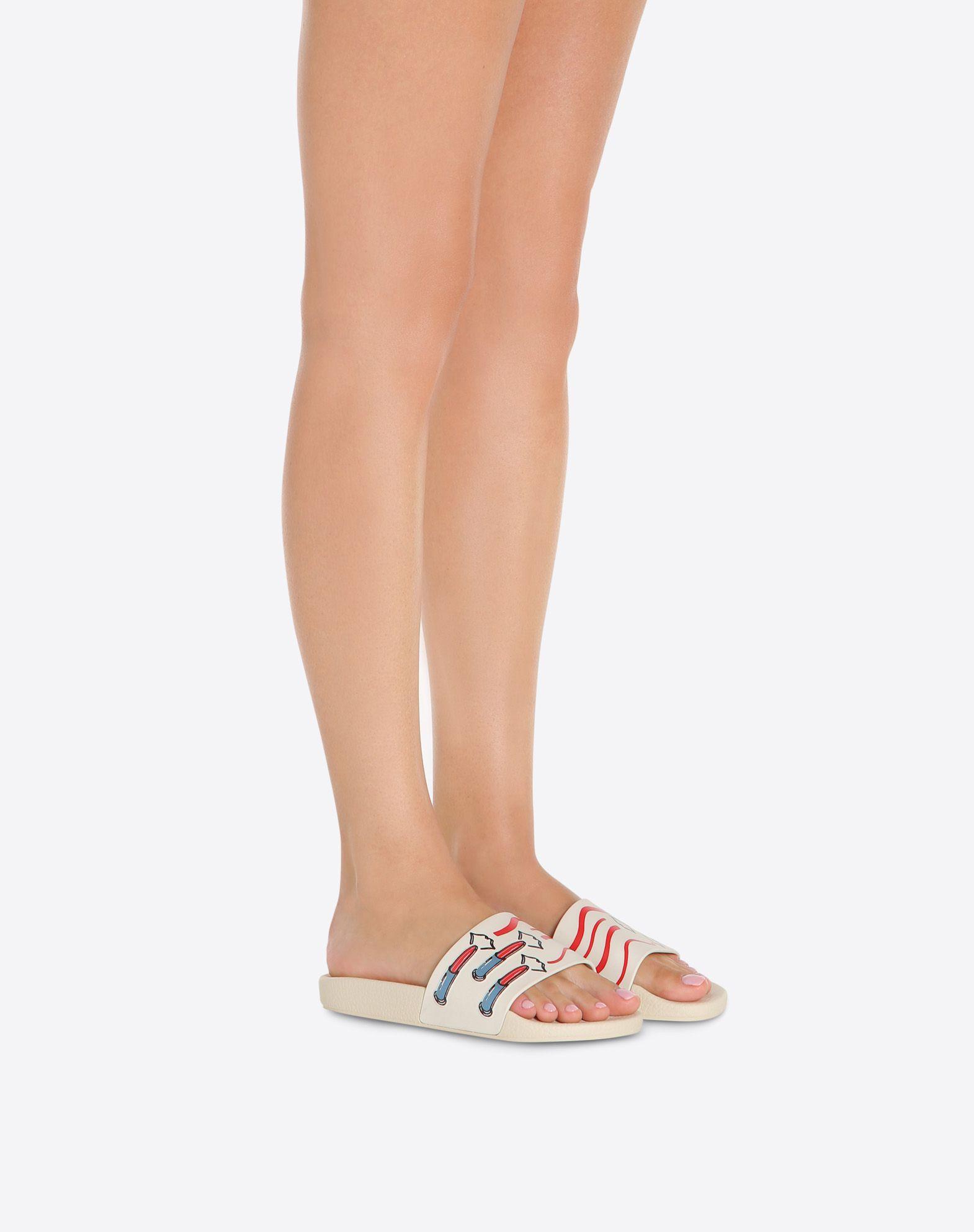 VALENTINO GARAVANI PVC Slide Sandal with Lipstick Print SLIDE SANDAL D a