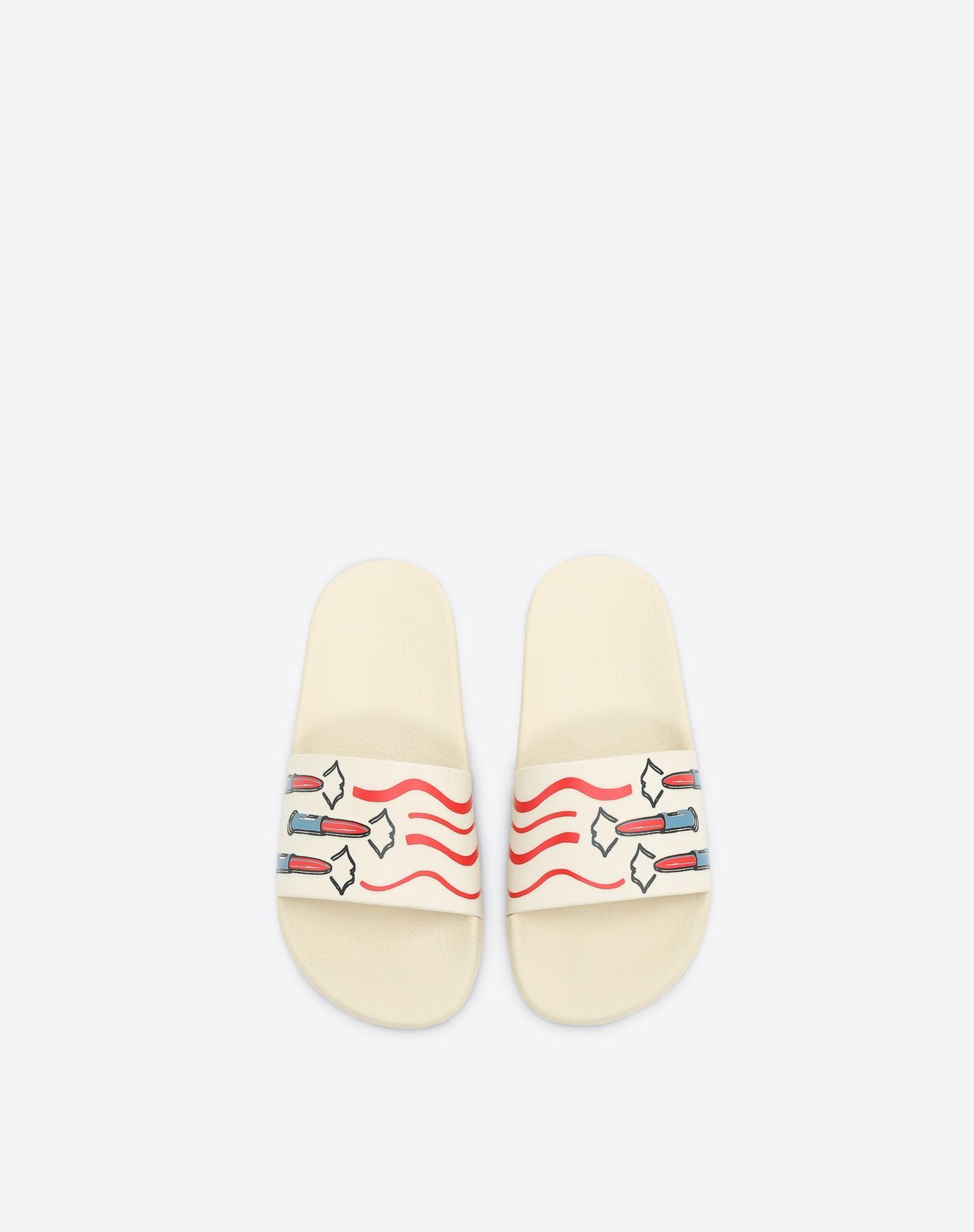 VALENTINO GARAVANI 口红印纹 PVC 拖鞋式凉鞋 拖鞋式凉鞋 D e