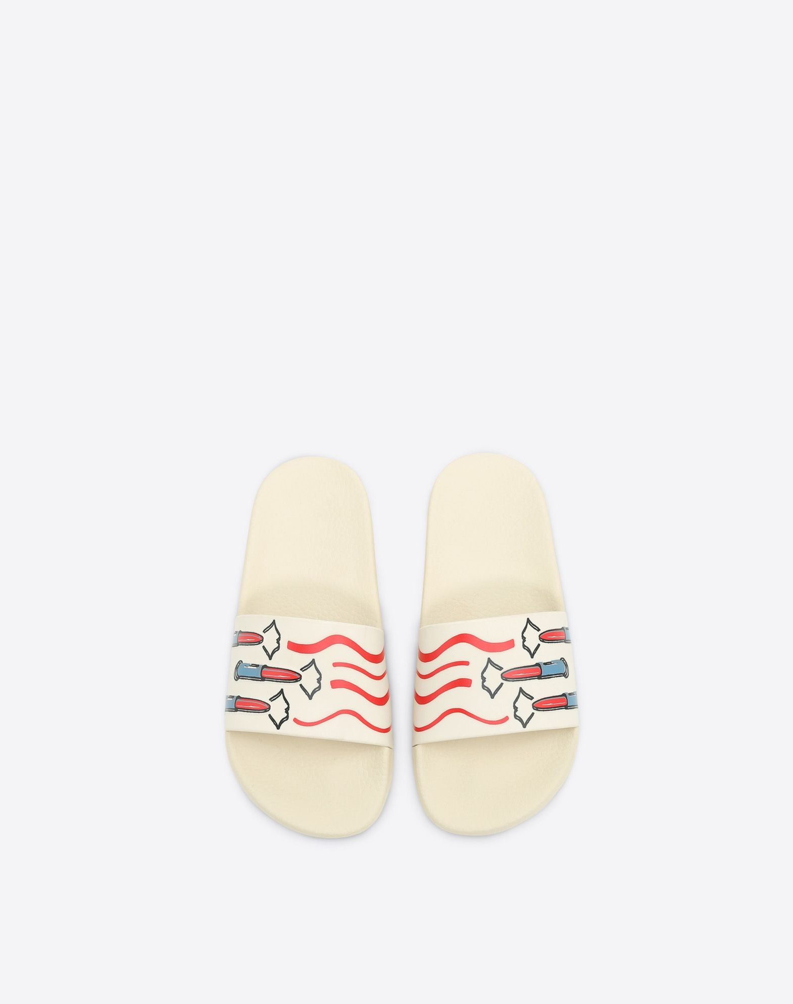VALENTINO GARAVANI PVC Slide Sandal with Lipstick Print SLIDE SANDAL D e