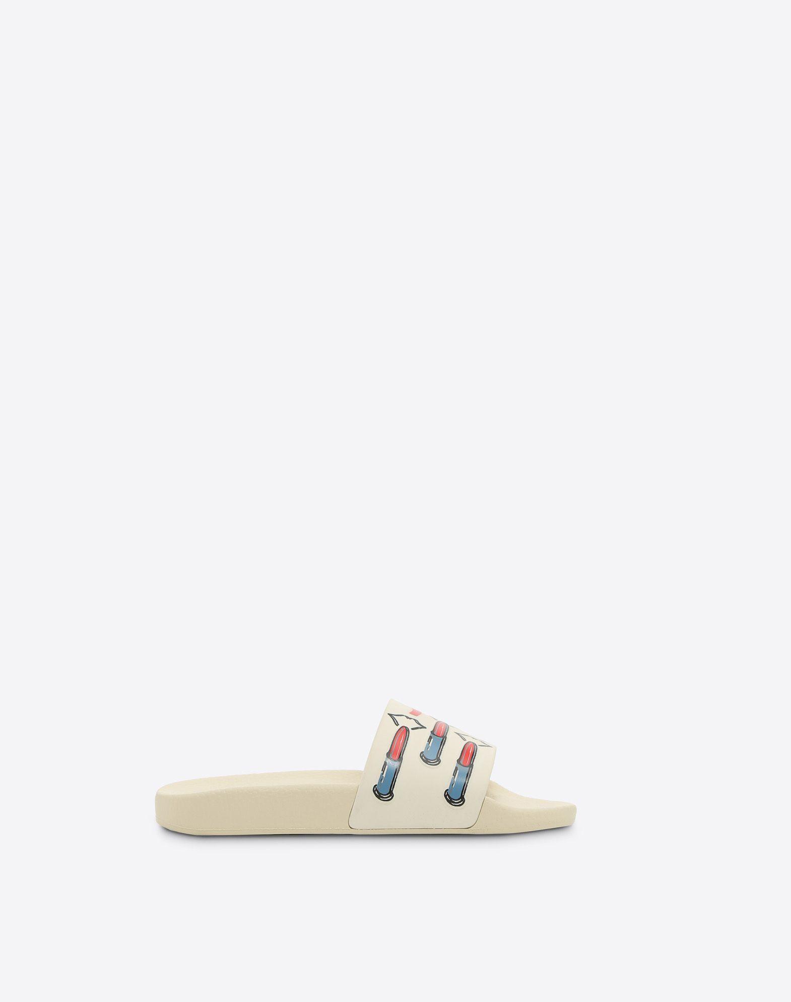 VALENTINO GARAVANI PVC Slide Sandal with Lipstick Print SLIDE SANDAL D f