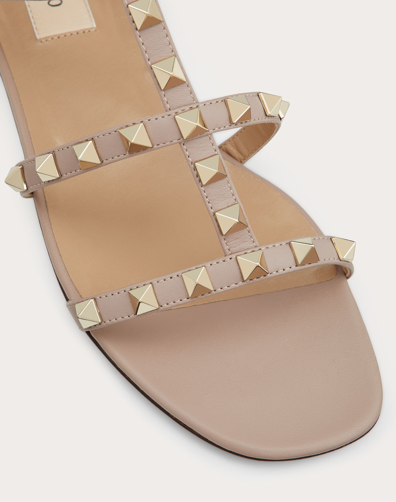 VALENTINO Studs Square toeline Solid colour Leather sole Side buckle closure  45390790aq