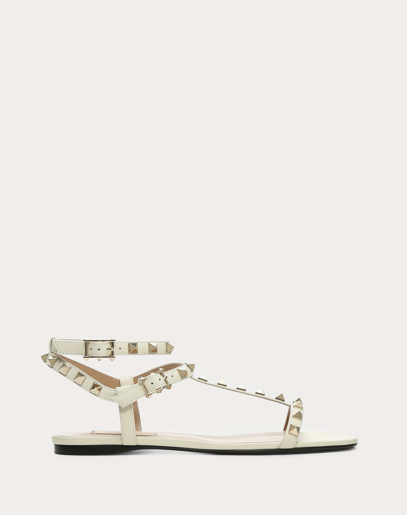 VALENTINO Studded Square toeline Solid color Leather sole Buckling ankle strap closure  45390910nh
