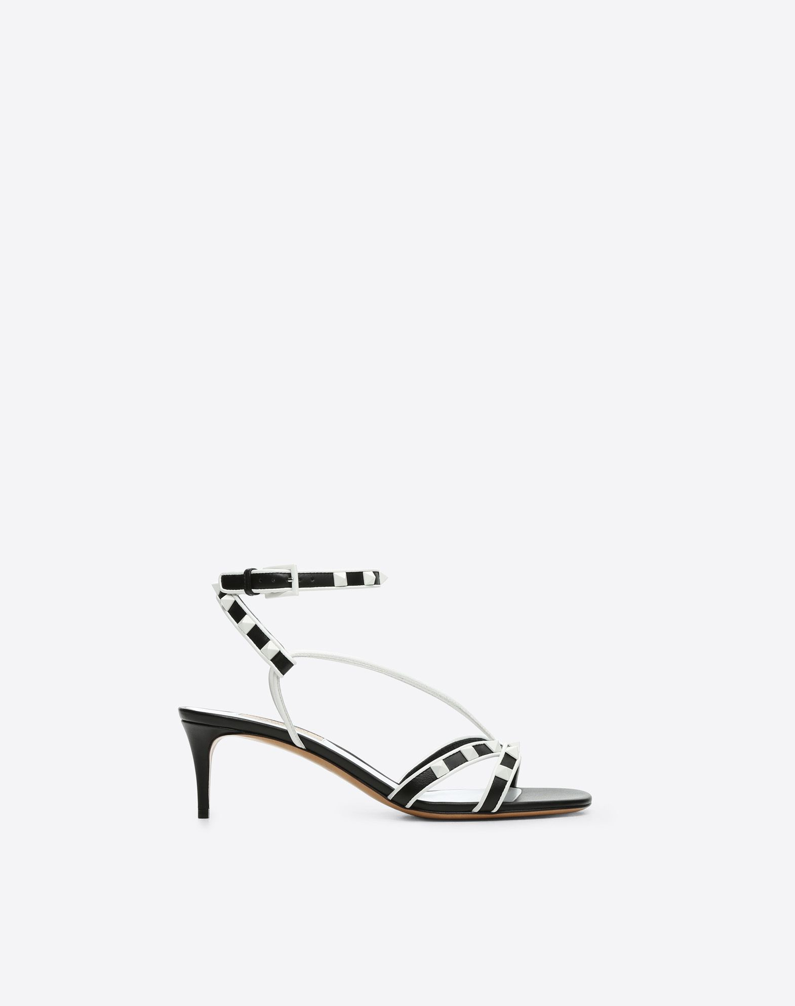 VALENTINO Studded Square toeline Leather sole Buckling ankle strap closure Spike heel  45390912jl
