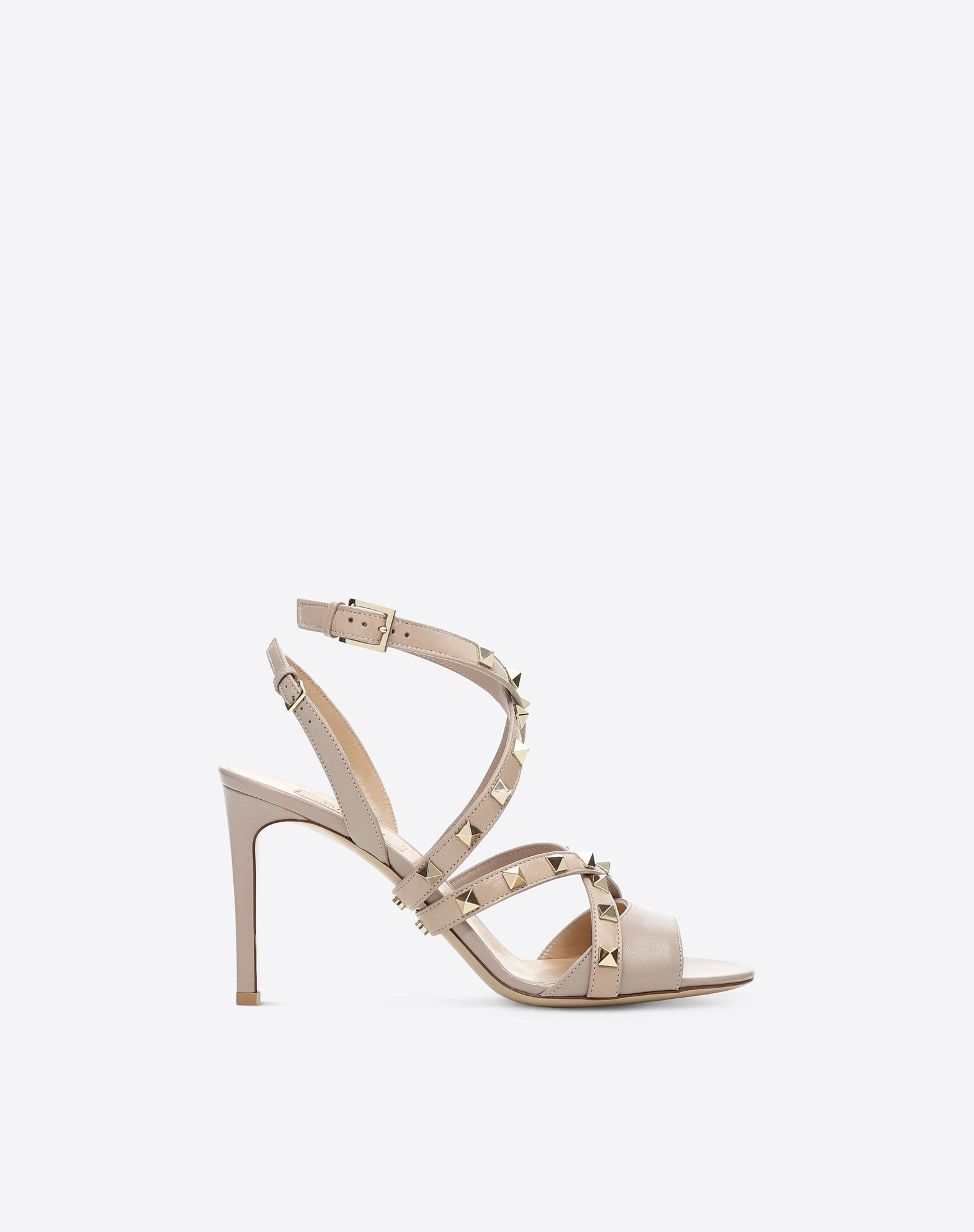 VALENTINO Studded Round toeline Leather sole Buckling ankle strap closure Spike heel  45390915fh