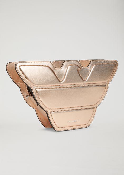 Eagle-shaped shoulder bag in leather