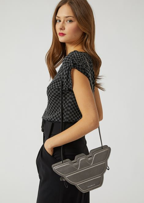 Eagle-shaped shoulder bag in leather