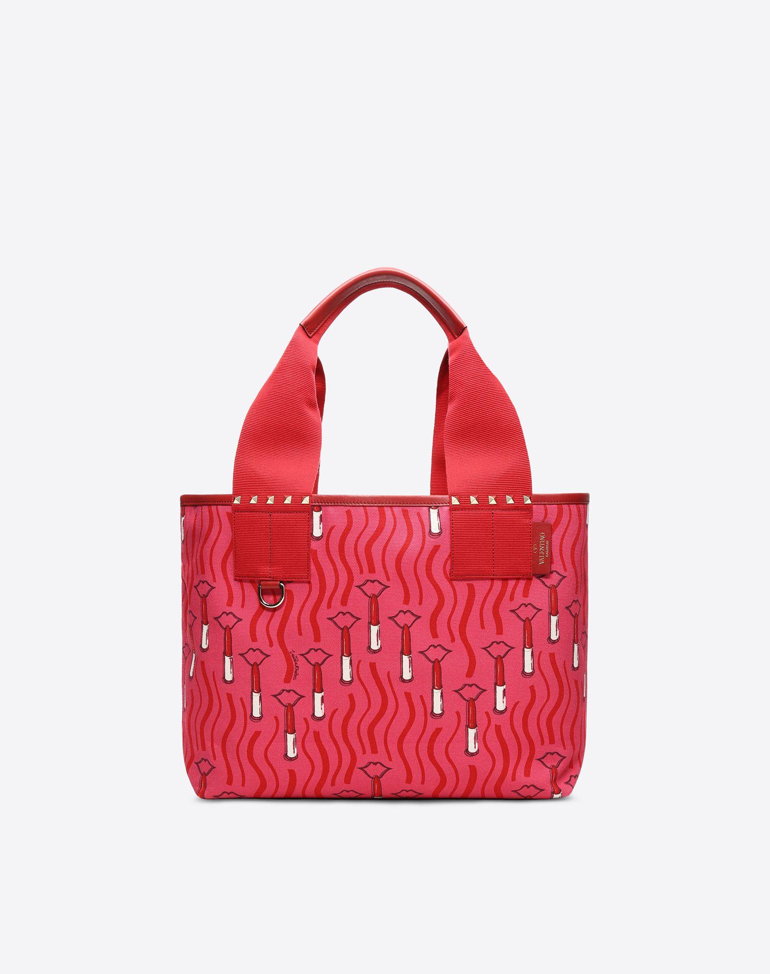 VALENTINO Studded Plain weave Leather applications Logo Detachable application Internal coin pocket Shoulder bags  45391217ta