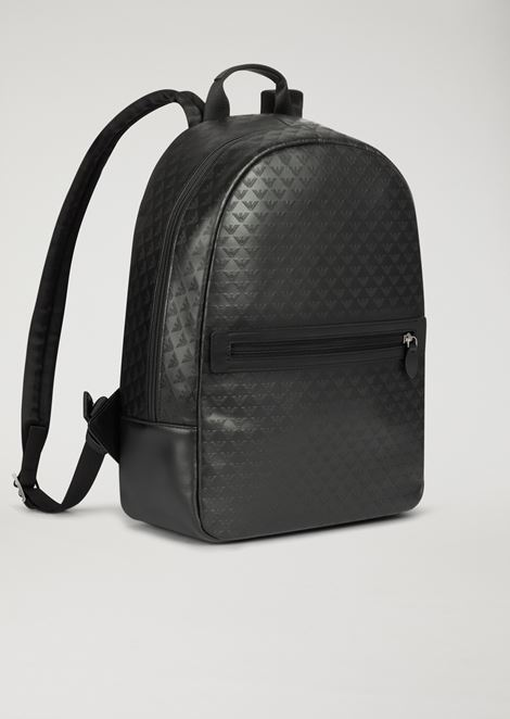 Backpack in bovine leather with all-over logo print