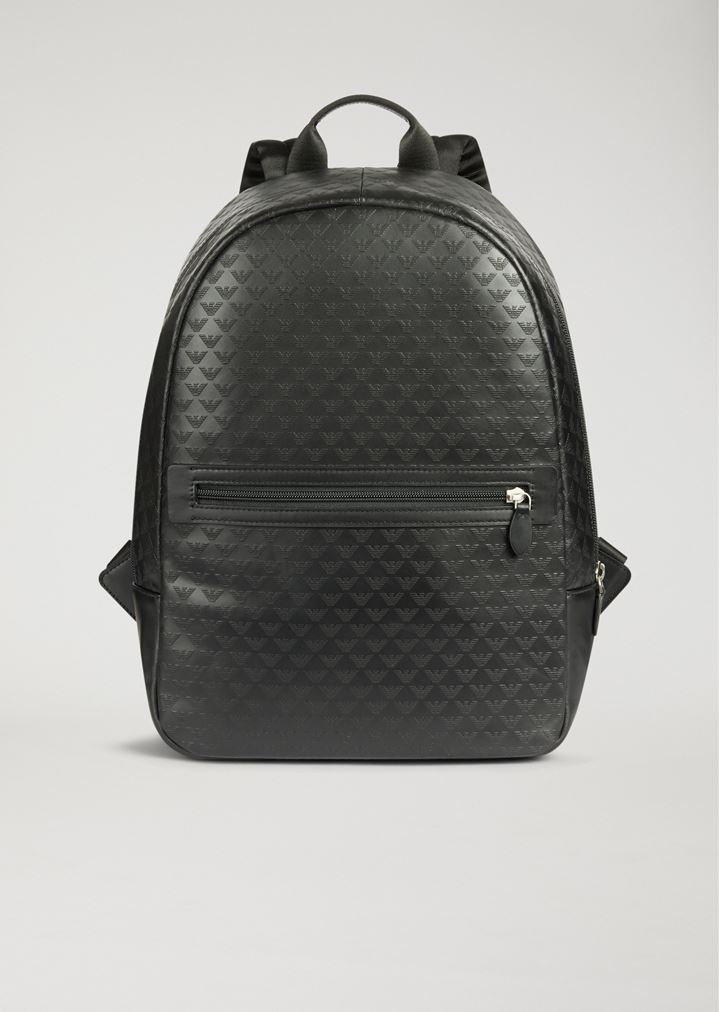 ed0ea069147b Backpack in bovine leather with all-over logo print
