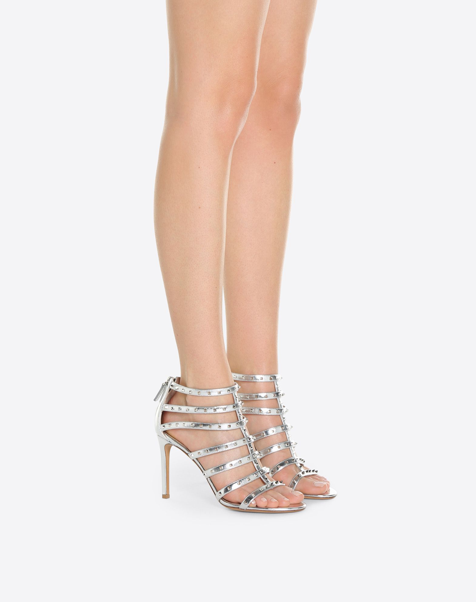VALENTINO Studs Laminated effect Round toeline Leather lining Leather sole Rear zip closure Stiletto heel  45392061aa