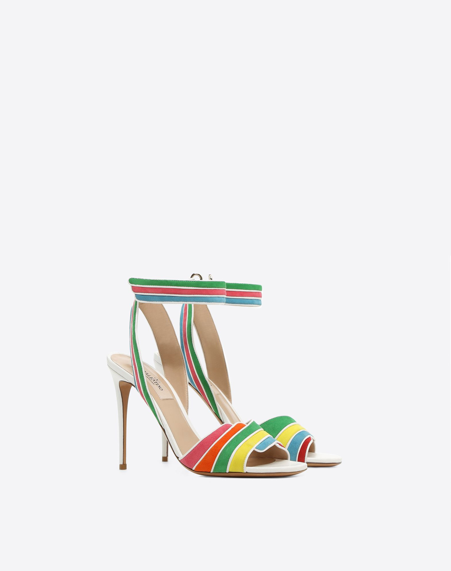 VALENTINO GARAVANI Multi-color suede 105mm Sandal HIGH HEEL SANDALS D r