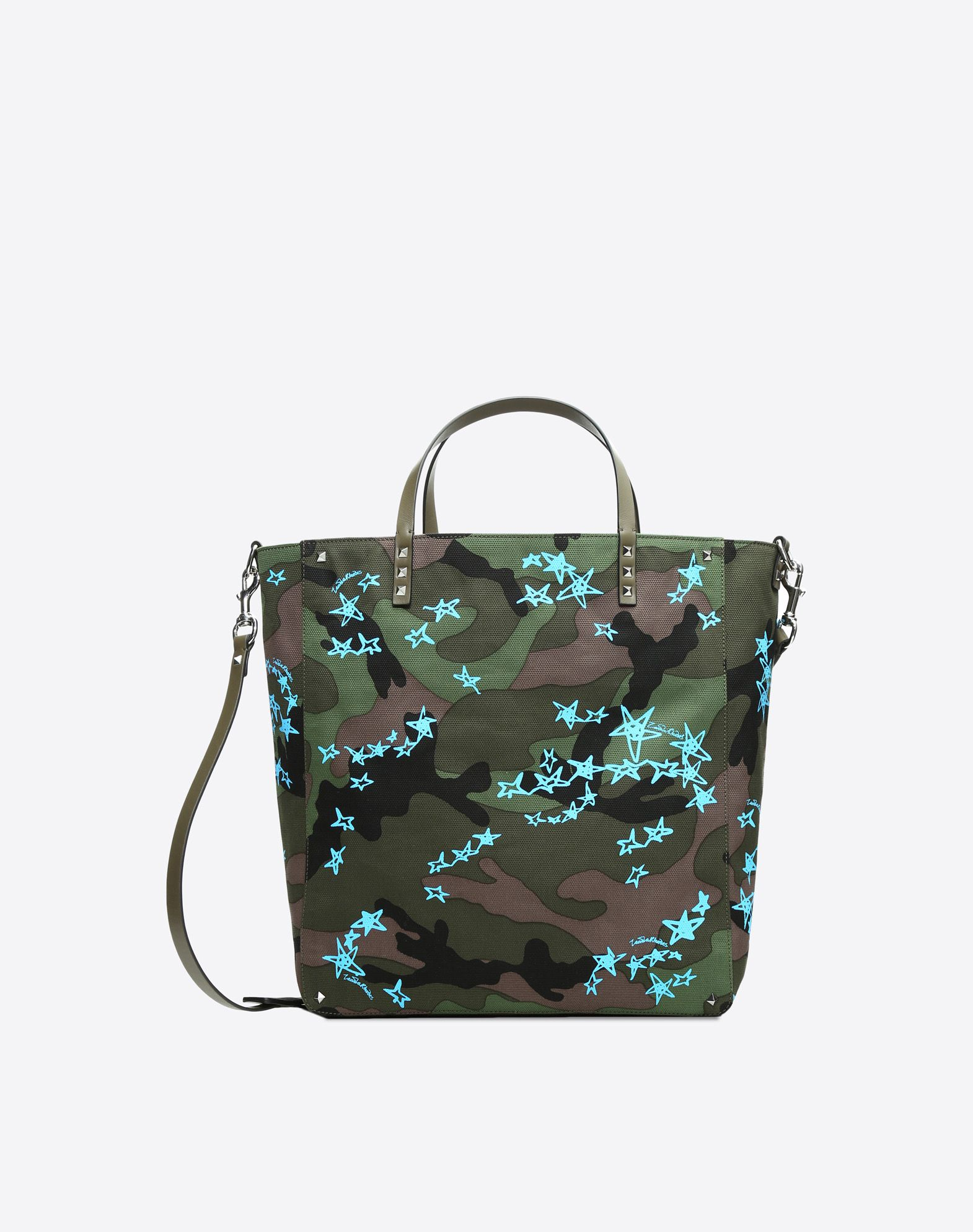 VALENTINO Logo Print Studs Camouflage Internal zip pocket Removable shoulder strap  45392834dx