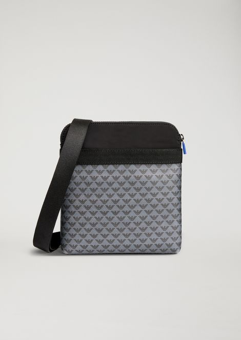 Leather cross body bag with all-over logo print