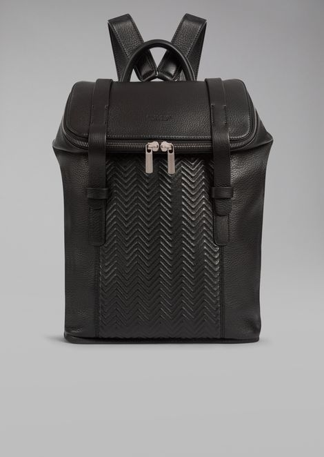 Leather backpack with chevron pattern