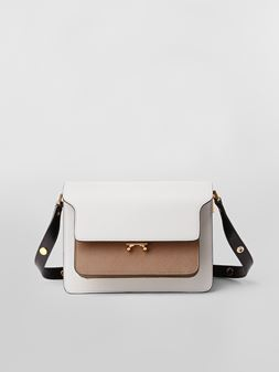 Marni TRUNK bag in saffiano calfskin grey brown and black Woman