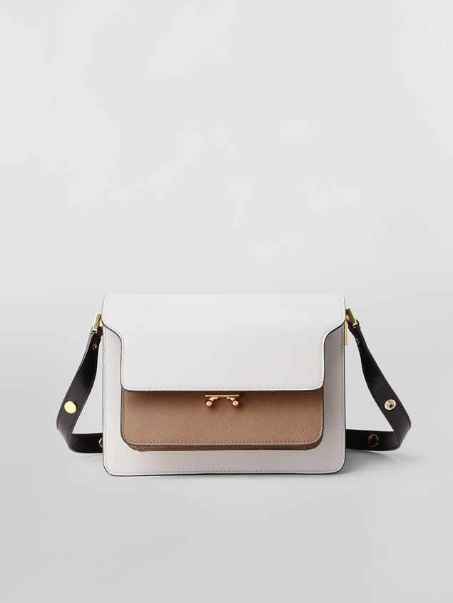 Marni TRUNK bag in gray, brown and black saffiano calfskin  Woman - 1