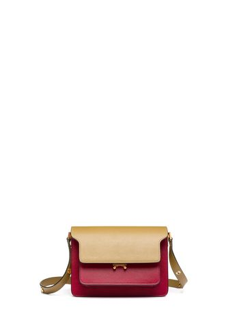 Marni TRUNK bag in leather green cherry Woman