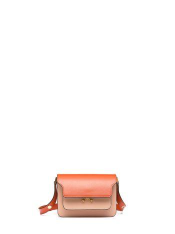 Marni TRUNK bag in leather orange pink Woman