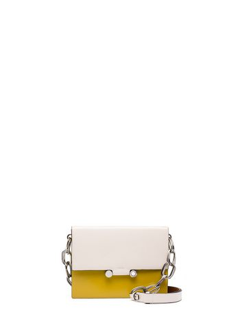 Marni CADDY shoulder bag in shiny leather sand yellow Woman
