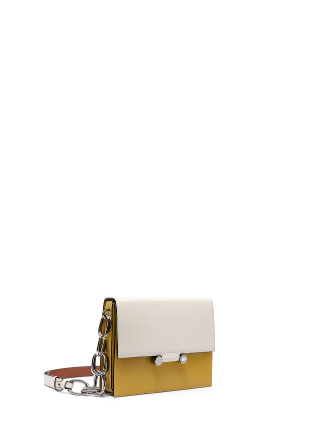 Marni CADDY shoulder bag in beige and yellow glossy leather Woman - 2