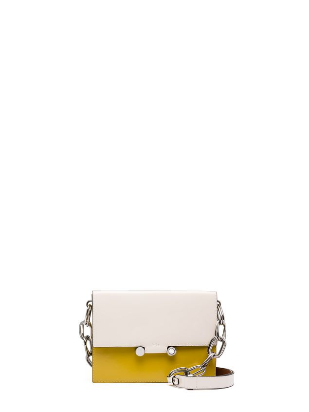 Marni CADDY shoulder bag in beige and yellow glossy leather Woman - 1