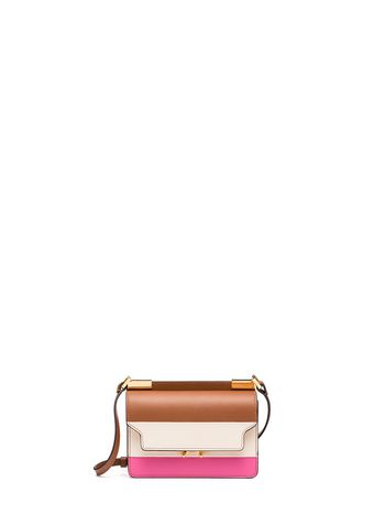Marni MICRO TRUNK bag in leather orange pink Woman