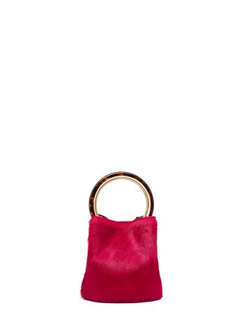 Marni PANNIER bag in burgundy pony calfskin Woman