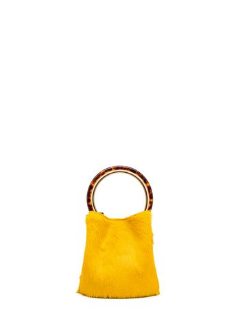 Marni PANNIER bag in yellow calf hair Woman