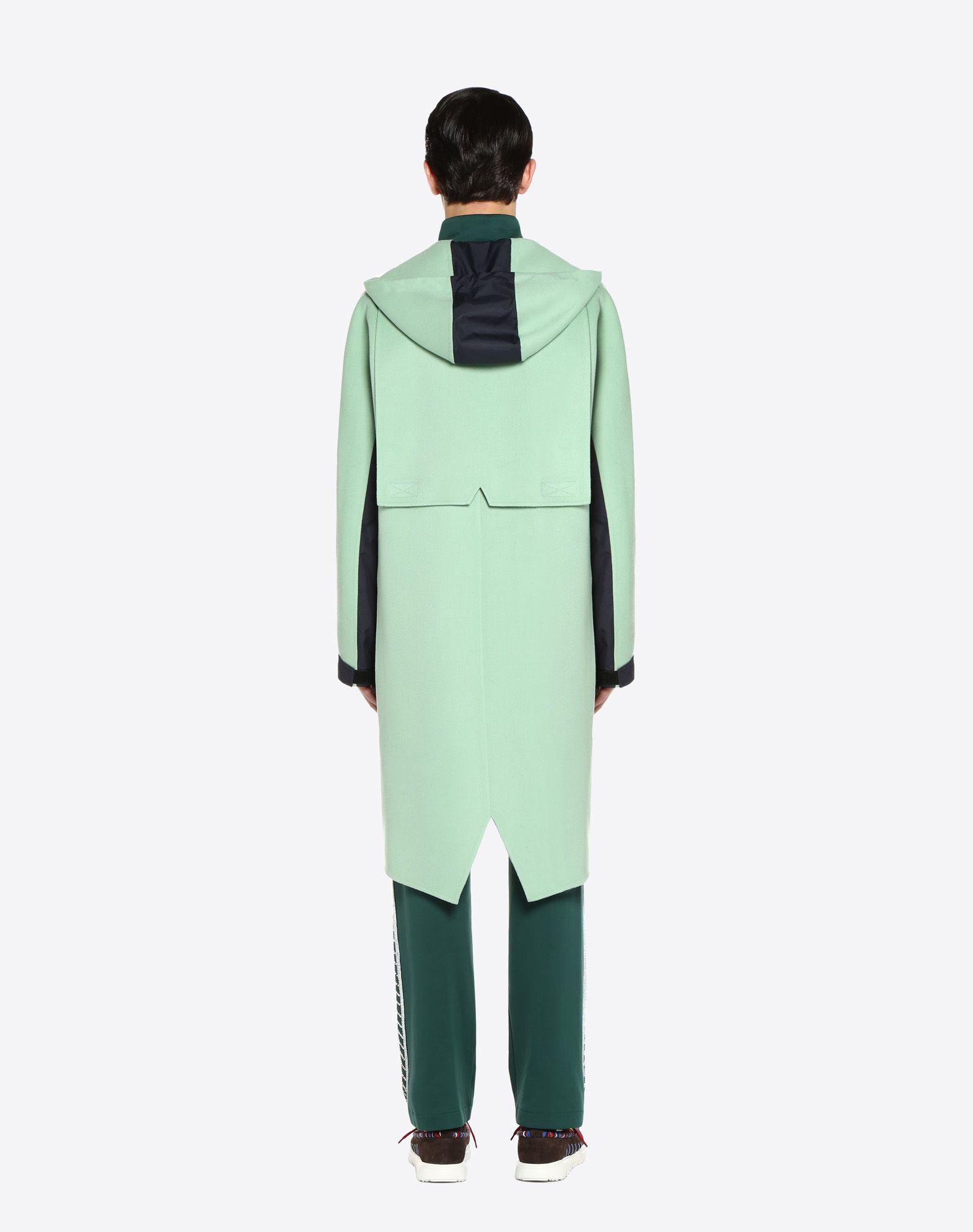 VALENTINO UOMO Long double wool cloth and nylon parka COAT U e