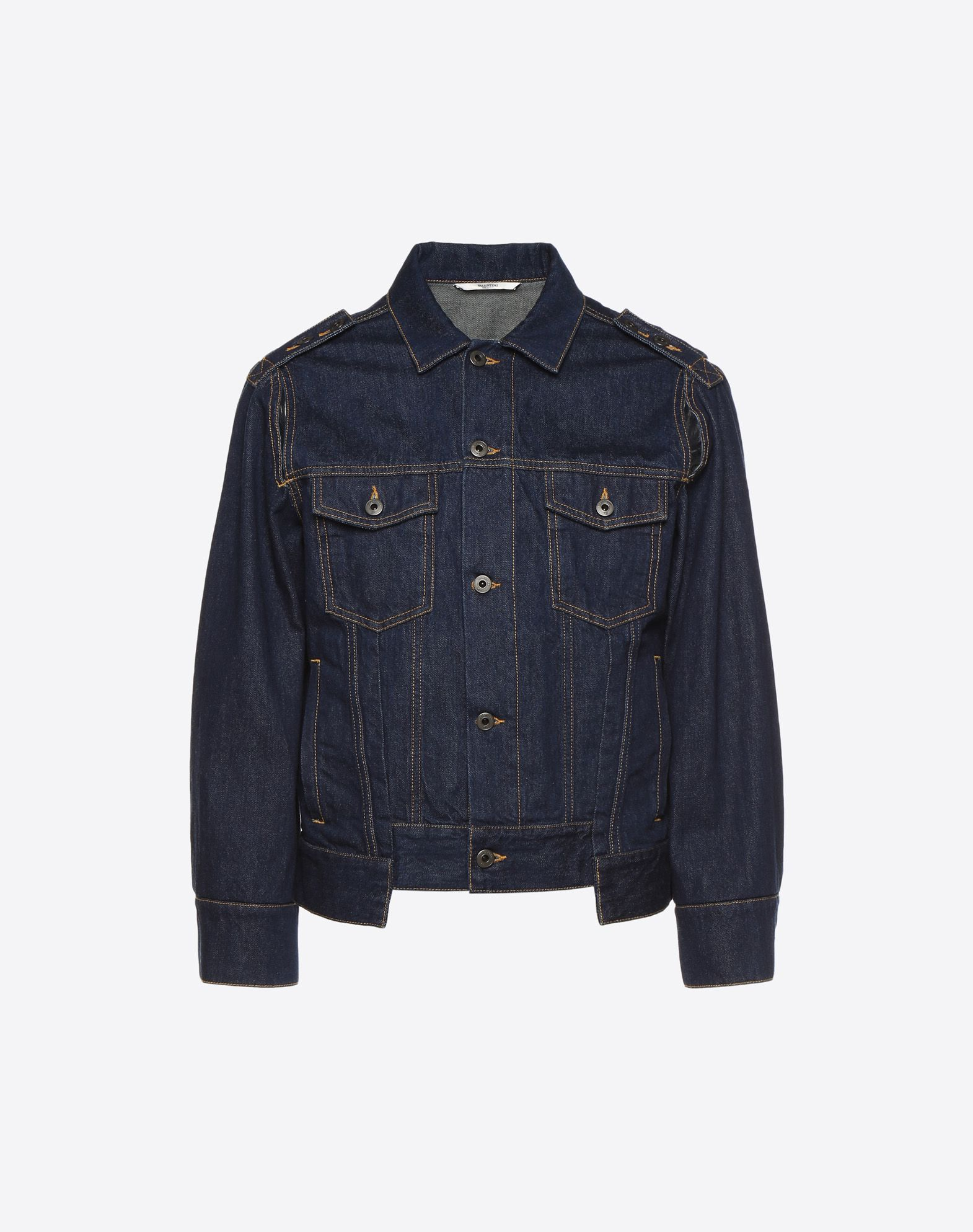VALENTINO Denim No appliqués Unlined Long sleeves Multipockets Button closing Single-breasted   45393817xk