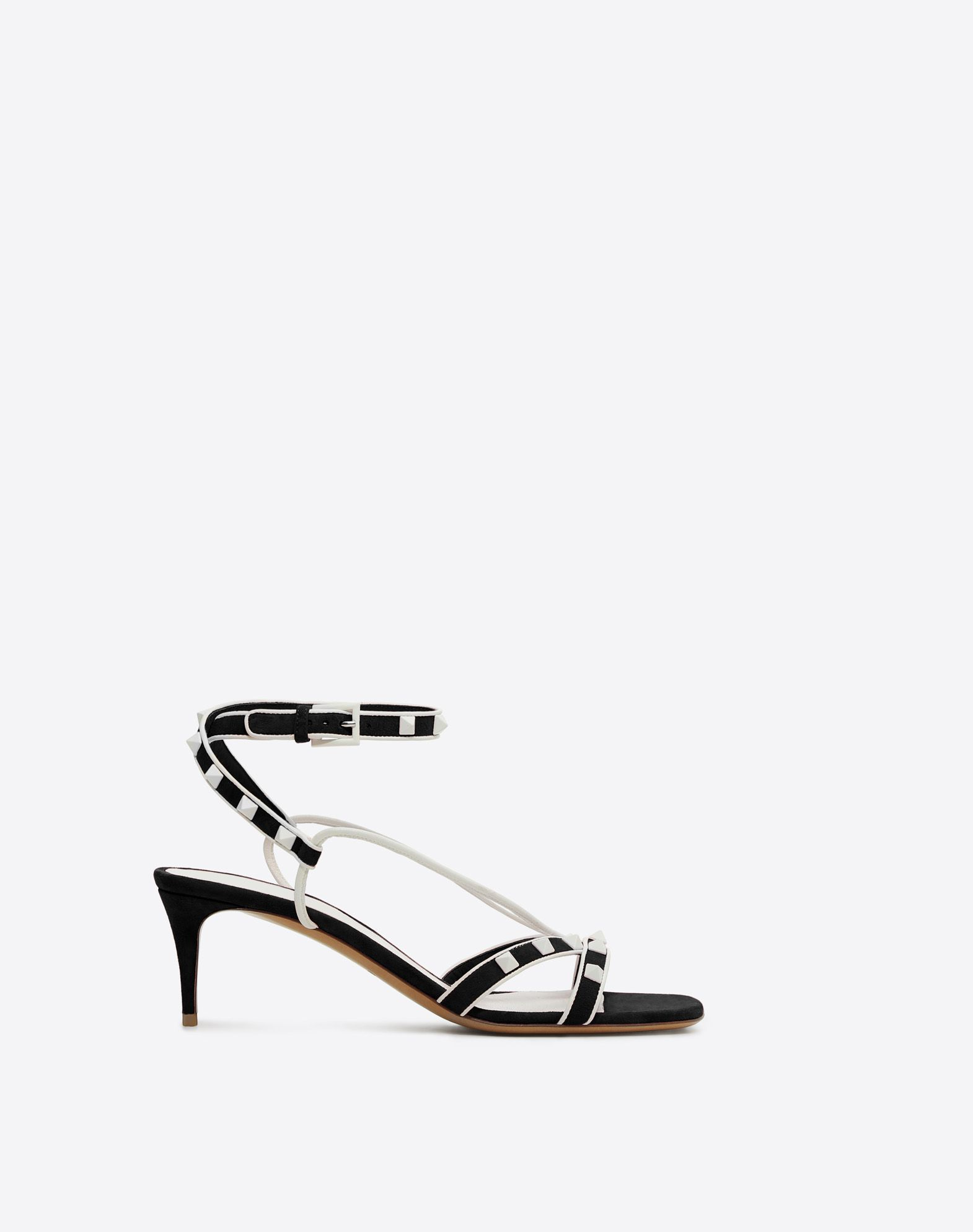 VALENTINO Studs Suede effect Square toeline Leather lining Leather sole Buckling ankle strap closure Spike heel  45394012re
