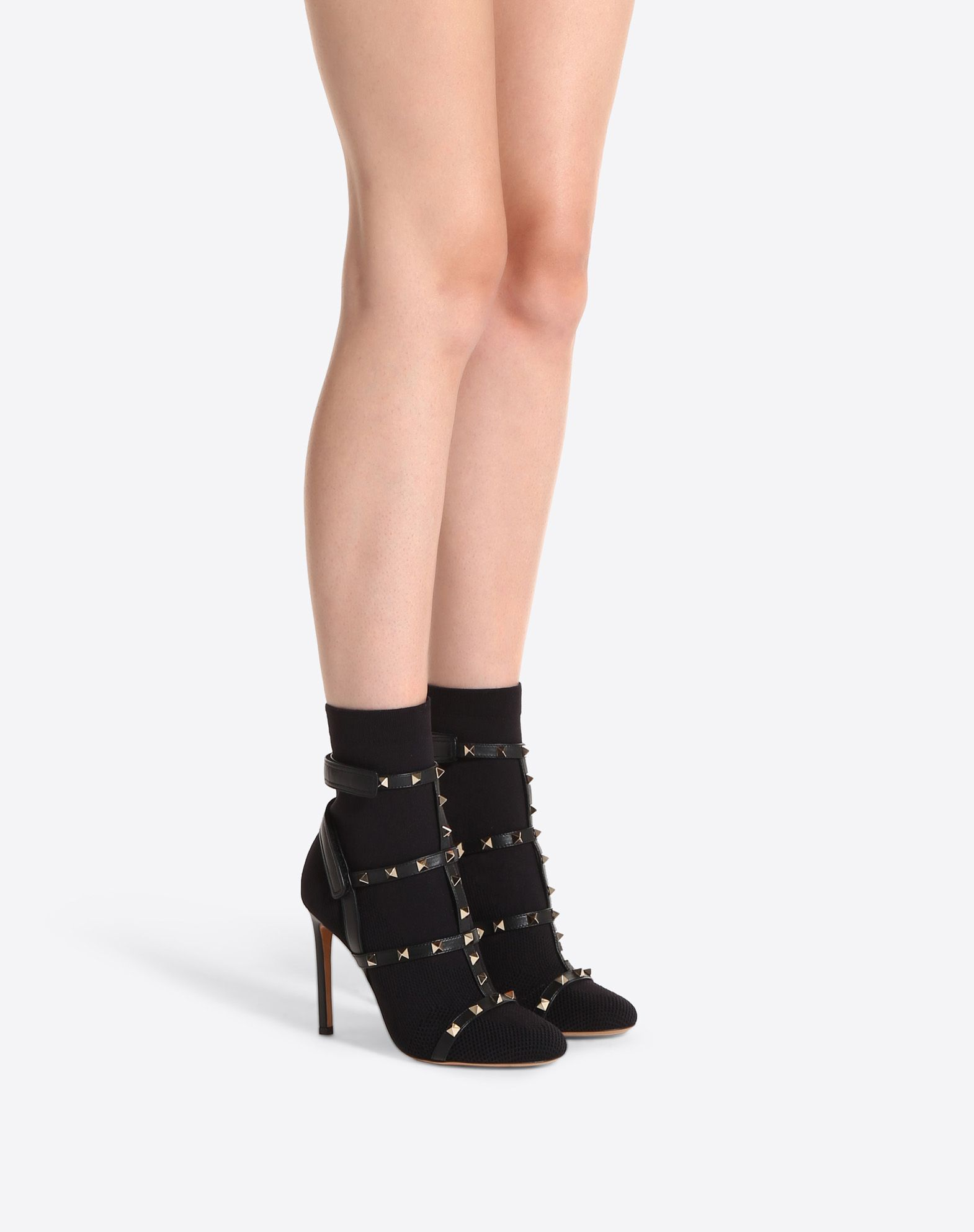 VALENTINO Stiletto heel Velcro closure Studded Round toeline Leather sole Lightweight knitted  45394016do