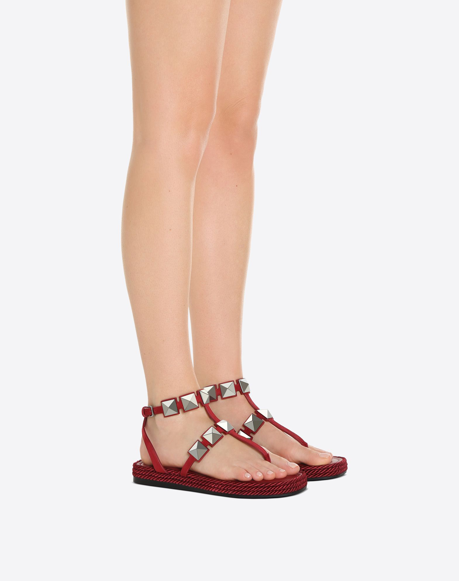 VALENTINO GARAVANI Thong Sandal with Macro Studs FLAT SANDALS D a