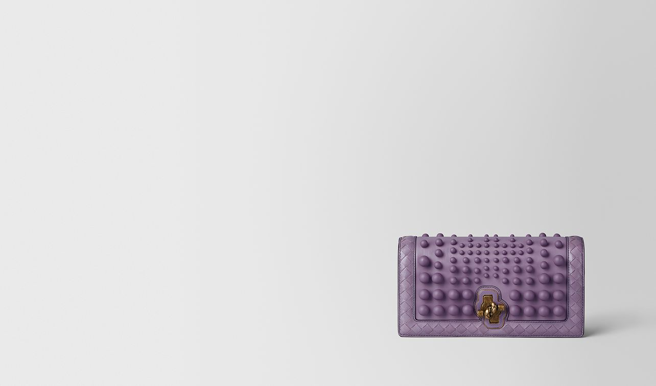 lilac nappa spheres knot clutch landing