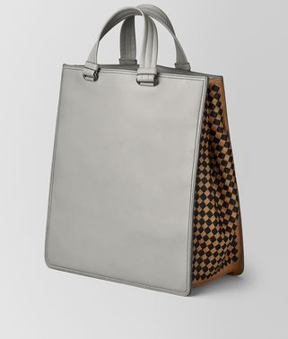 BORSA SHOPPING IN INTRECCIATO CHECKER CEMENT
