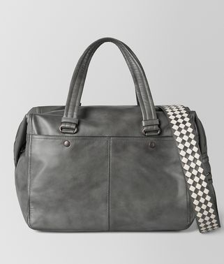 LIGHT GREY INTRECCIATO CHECKER DUFFLE