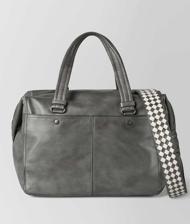 BOTTEGA VENETA LIGHT GREY INTRECCIATO CHECKER DUFFLE Luggage [*** pickupInStoreShippingNotGuaranteed_info ***] fp