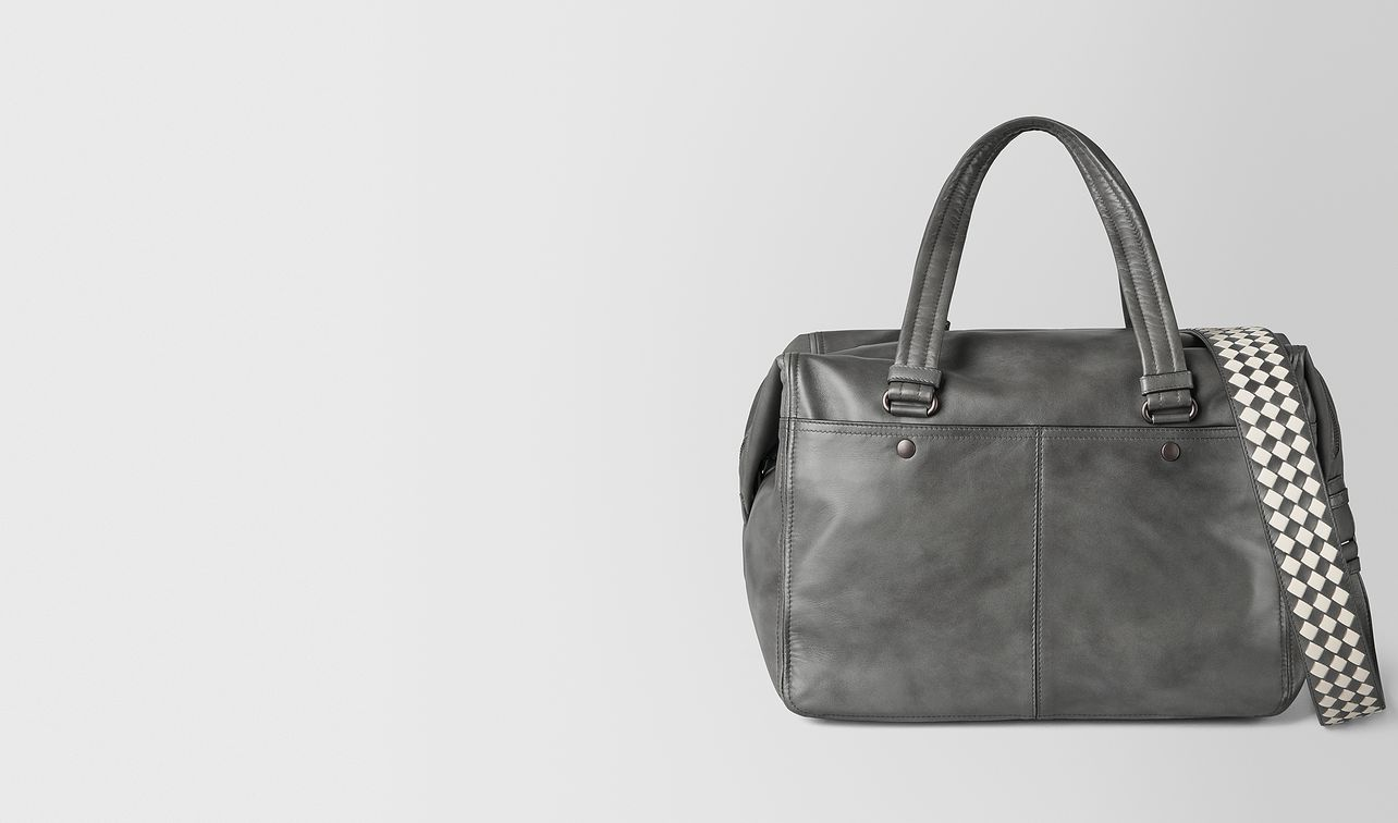 light grey intrecciato checker duffle landing