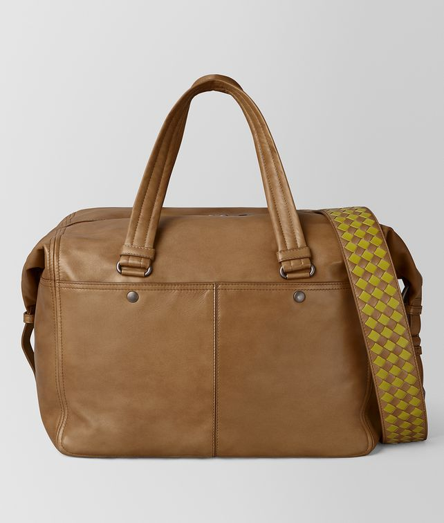 BOTTEGA VENETA CAMEL INTRECCIATO CHECKER DUFFLE Luggage Man fp