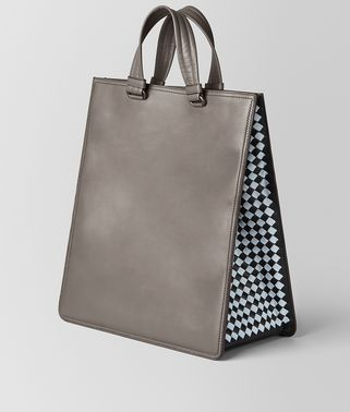 BORSA SHOPPING IN INTRECCIATO CHECKER STEEL