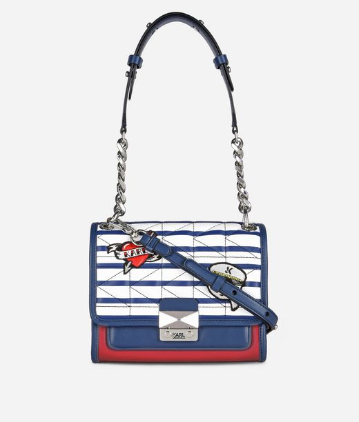 KARL LAGERFELD Mini Borsa a Mano Karl Capitano a Righe 12_f