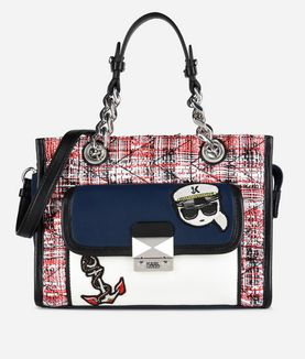 KARL LAGERFELD CAPTAIN KARL TWEED MINI TOTE
