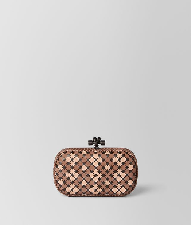 BOTTEGA VENETA DAHLIA PEACH ROSE ENAMEL KNOT Clutch Woman fp
