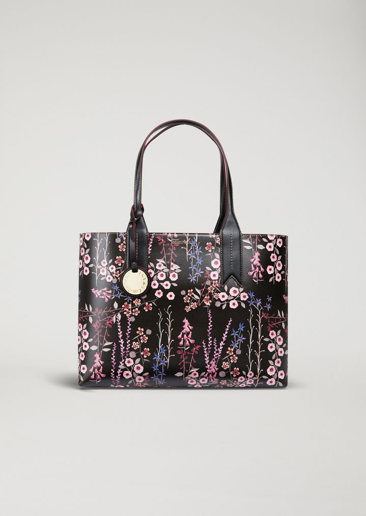 ef2dcbbadc Floral tote bag with logo charm
