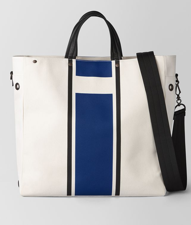 BOTTEGA VENETA LATTE COBALT VIALINEA CANVAS TOTE Tote Bag [*** pickupInStoreShippingNotGuaranteed_info ***] fp