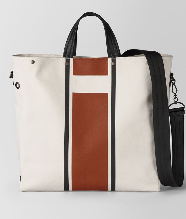 BOTTEGA VENETA LATTE CALVADOS VIALINEA CANVAS TOTE Tote Bag Man fp