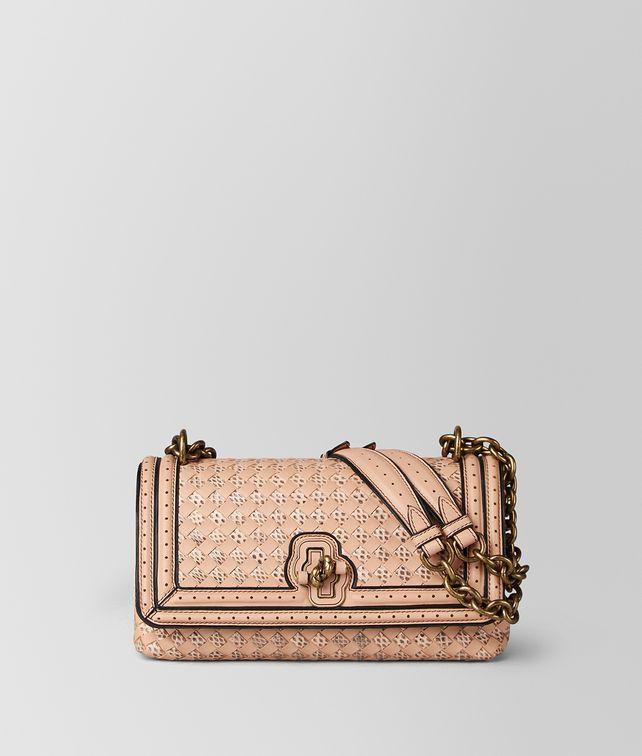 BOTTEGA VENETA PEACH ROSE INTRECCIATO CHECKER OLIMPIA KNOT Shoulder Bag Woman fp