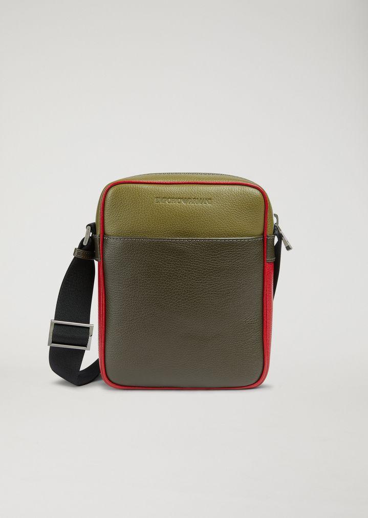 b0c7cd669271f Grainy leather cross body bag   Man   Emporio Armani